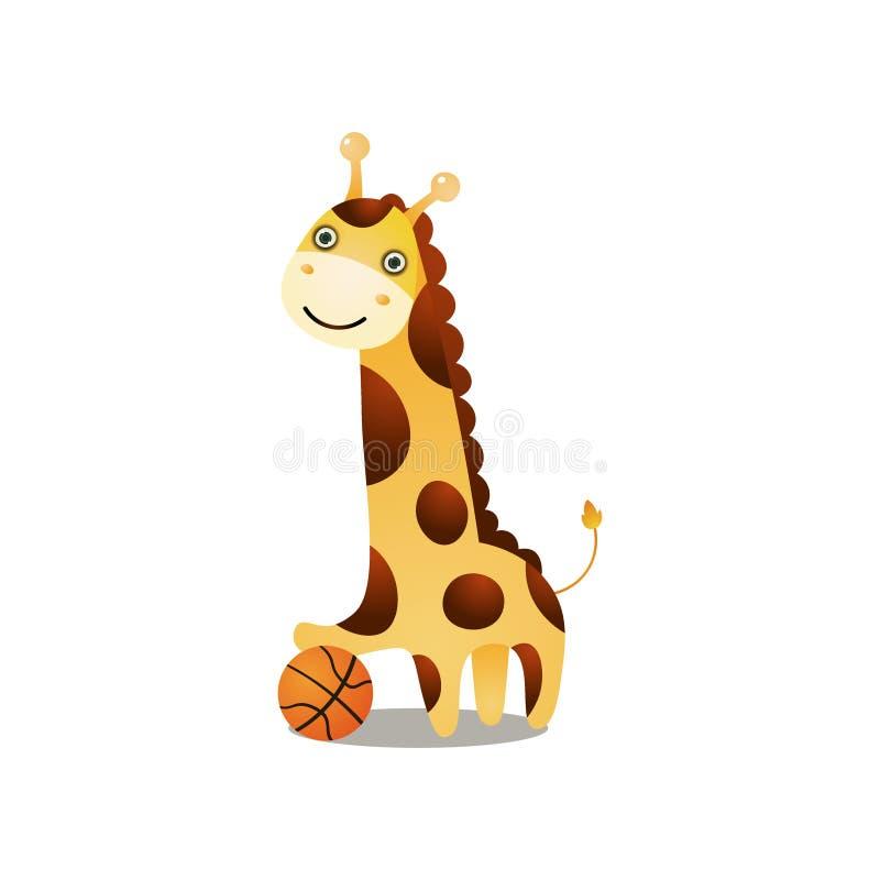 Basket-ball de sourire mignon de jeu de girafe avec la boule rouge illustration de vecteur