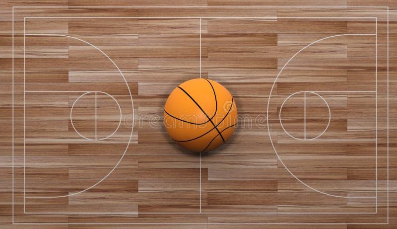 basket-ball du rendu 3d sur le fond en bois illustration stock