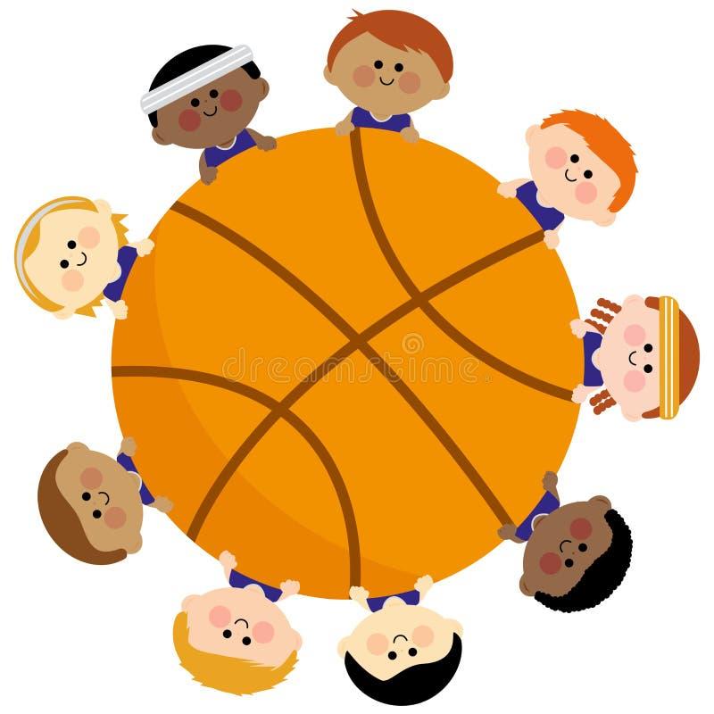 Basket-ball et équipe d'enfants illustration stock