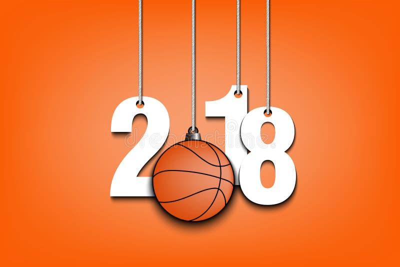 Basket-ball et 2018 accrochant sur des ficelles illustration stock