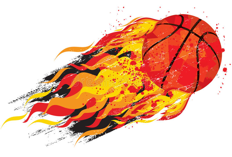 Basket-ball flamboyant illustration de vecteur