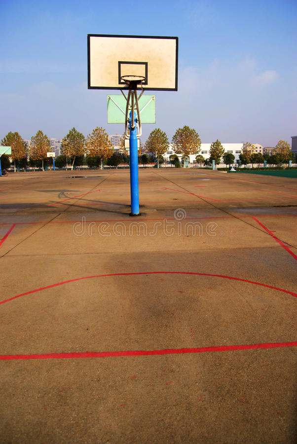 Basket ball hoop. S on outside court stock images