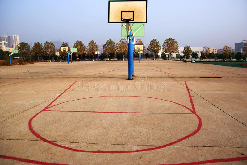 Basket ball hoop. S on outside court royalty free stock photography