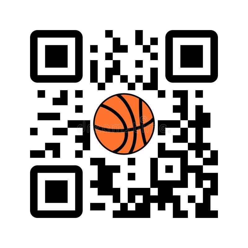 Basket-ball lisible de jeu de code de Smartphone QR avec l'icône de boule illustration libre de droits
