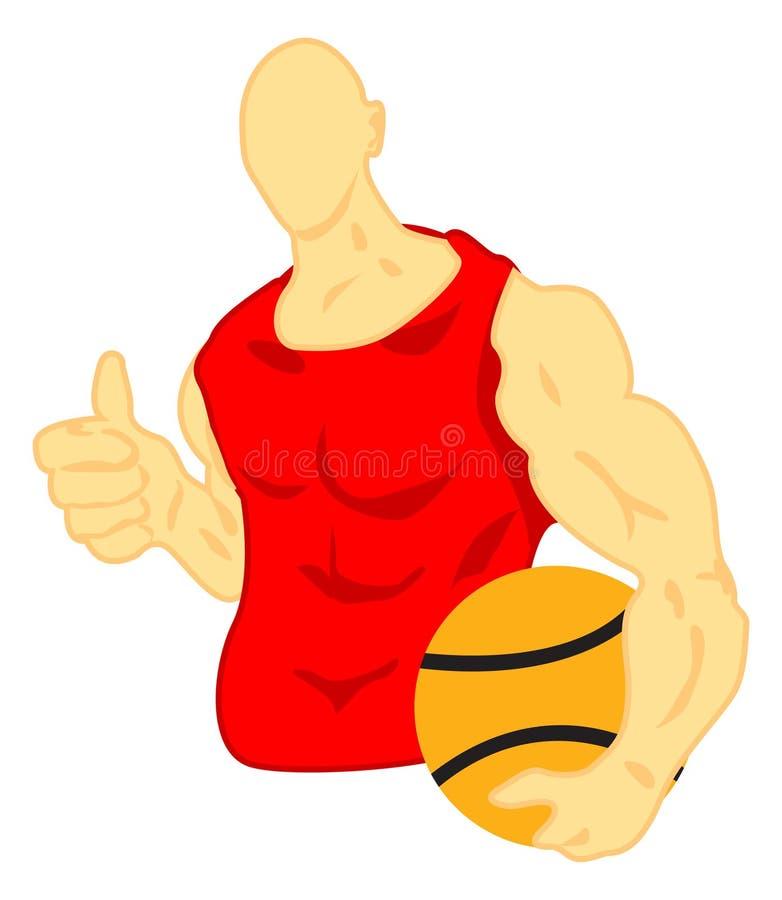 Basket ball player. Illustration of basket ball player thumb up his finger royalty free illustration