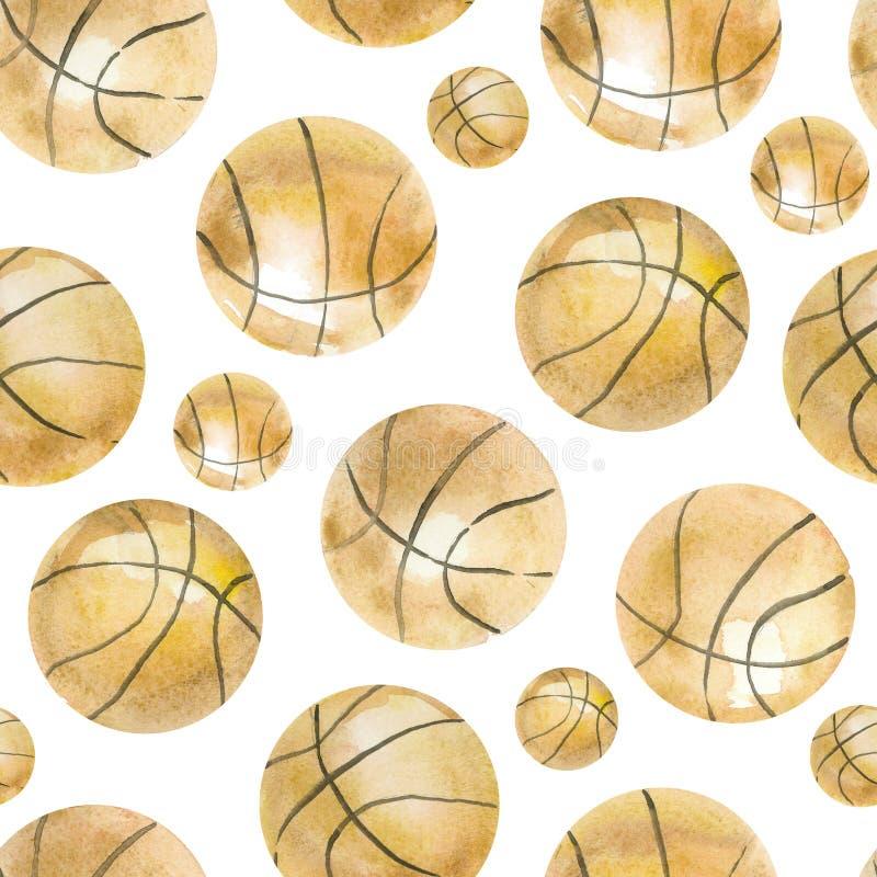 Basket-ball sans couture de modèle d'aquarelle peinte à la main illustration libre de droits