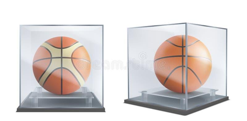 Basket-ball sous vitre vecteur réaliste illustration stock