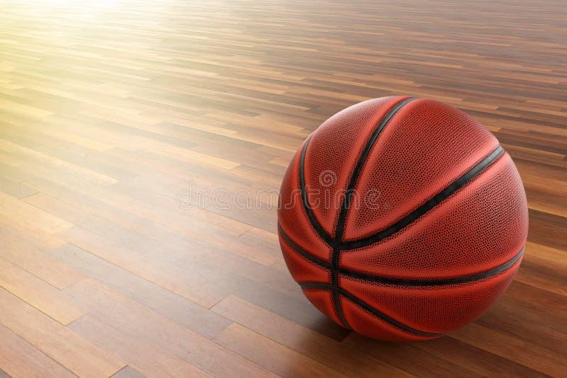 Basket-ball sur le plancher en bois photos libres de droits
