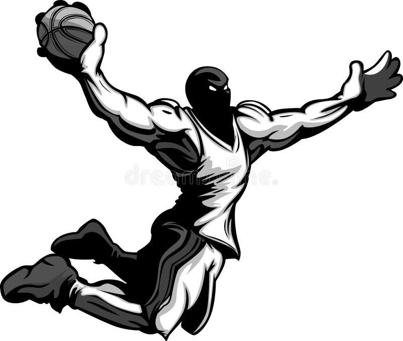Basket-ball trempant de dessin animé de joueur de basket illustration libre de droits