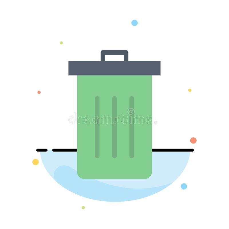 Basket, Been, Delete, Garbage, Trash Abstract Flat Color Icon Template royalty free illustration