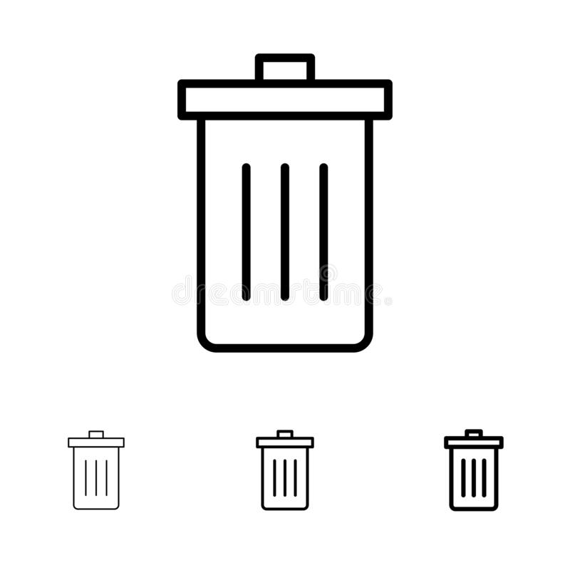 Basket, Been, Delete, Garbage, Trash Bold and thin black line icon set stock illustration