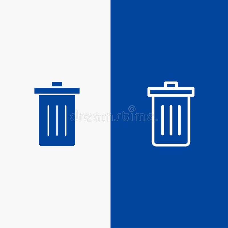 Basket, Been, Delete, Garbage, Trash Line and Glyph Solid icon Blue banner Line and Glyph Solid icon Blue banner stock illustration
