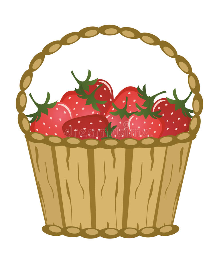 Basket with berries. On a white background royalty free illustration