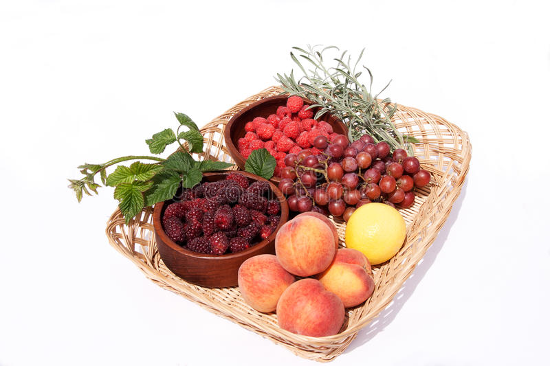 Download Basket With Bowls Of Fresh Fruit Stock Photo - Image: 14952980