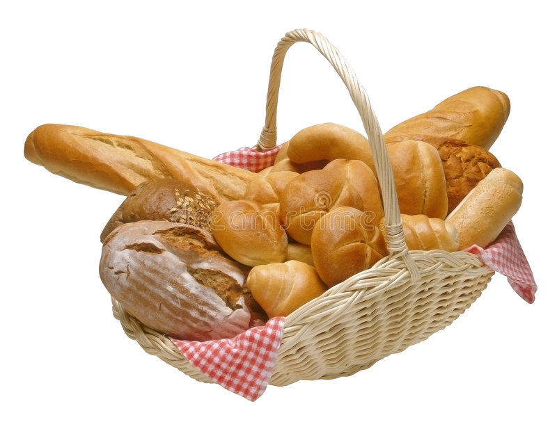 Basket of bread. Breads and rolls in a wicker basket isolated with clipping path
