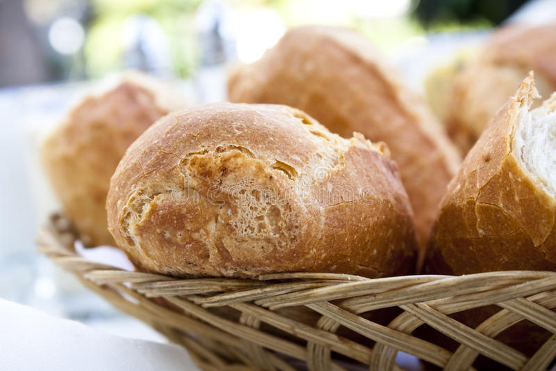 Basket with bread roll royalty free stock image