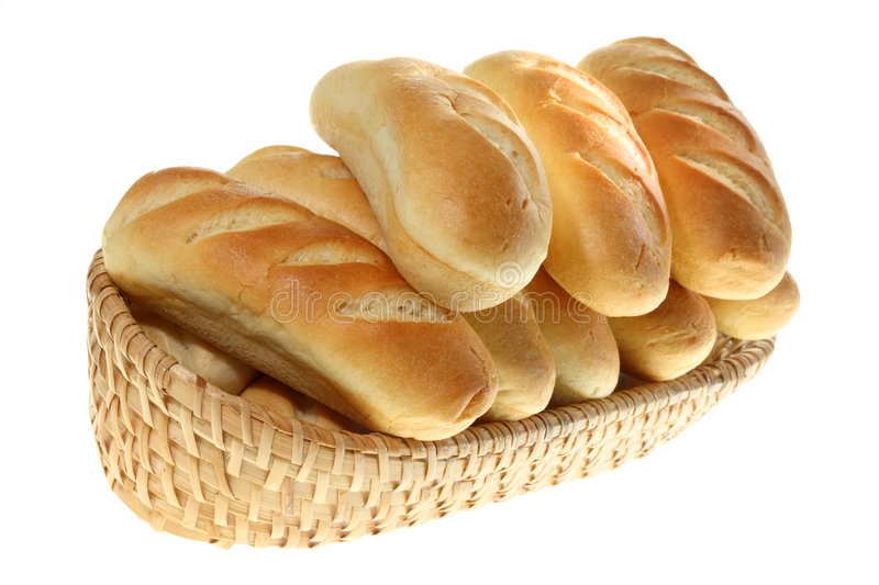 Basket of bread rolls. royalty free stock photos