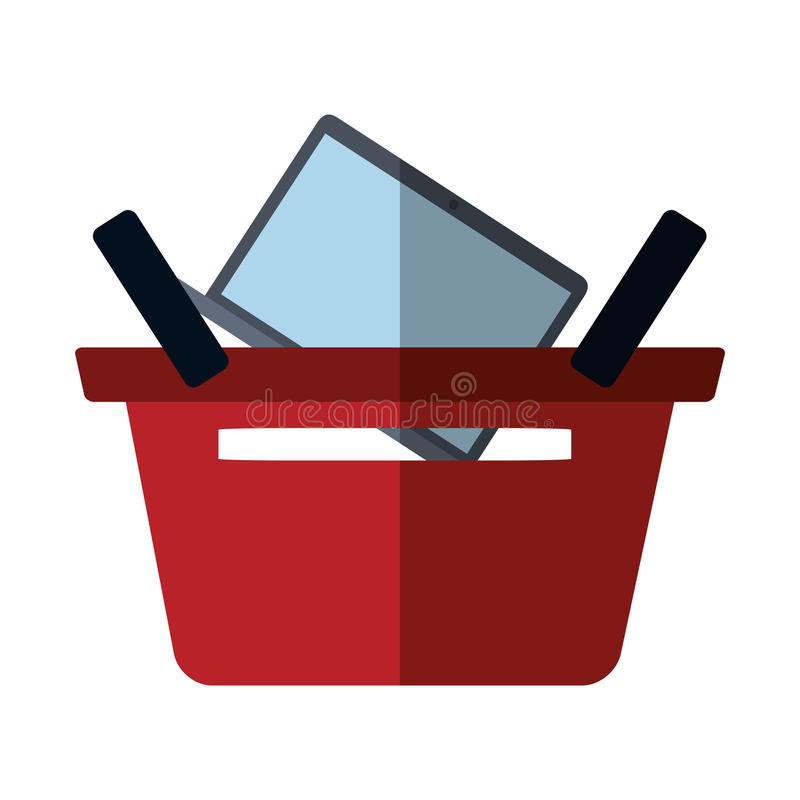 Basket buying online laptop color shadow. Vector illustration eps 10 stock illustration