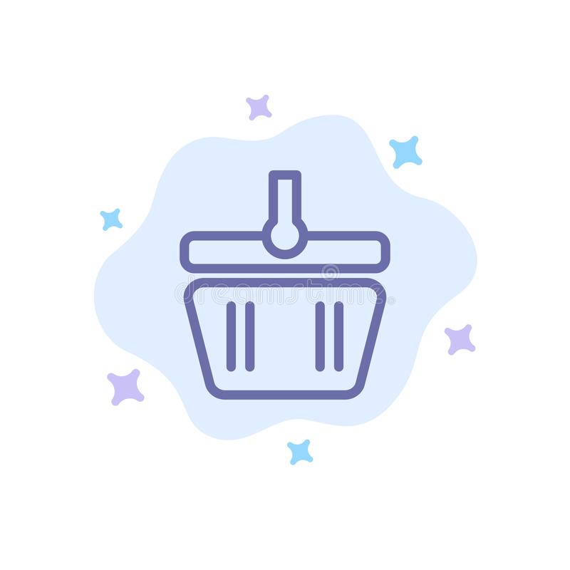 Basket, Cart, Shopping, Spring Blue Icon on Abstract Cloud Background stock illustration