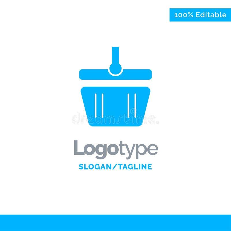 Basket, Cart, Shopping, Spring Blue Solid Logo Template. Place for Tagline stock illustration