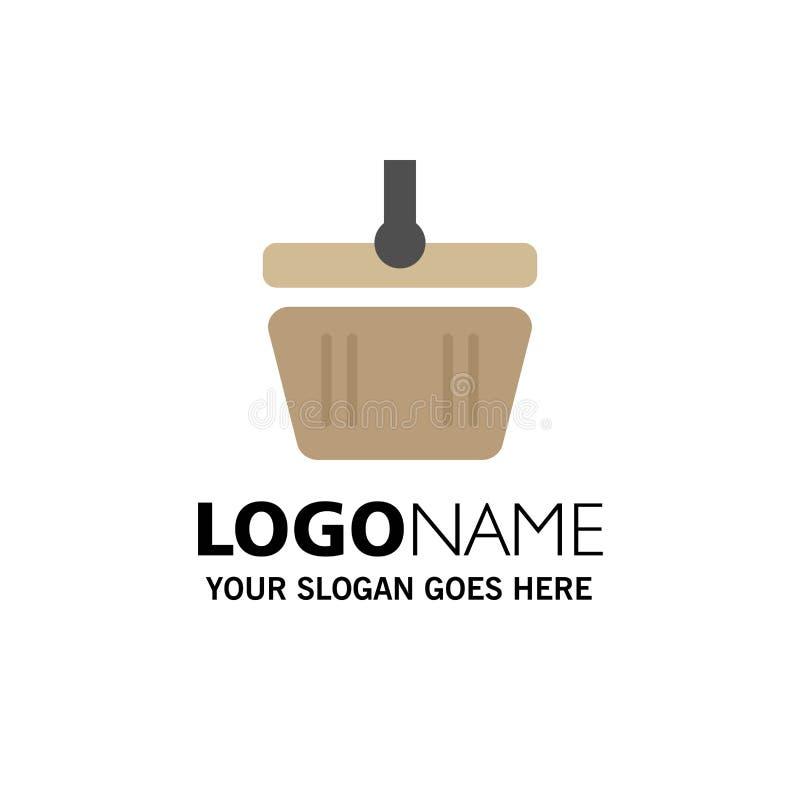 Basket, Cart, Shopping, Spring Business Logo Template. Flat Color vector illustration
