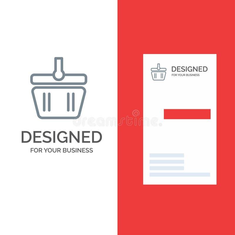 Basket, Cart, Shopping, Spring Grey Logo Design and Business Card Template royalty free illustration