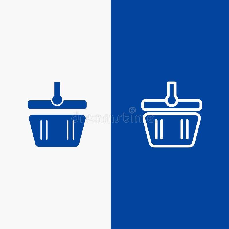 Basket, Cart, Shopping, Spring Line and Glyph Solid icon Blue banner Line and Glyph Solid icon Blue banner stock illustration