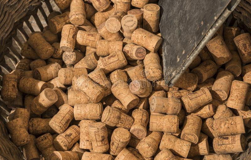 Basket of Champagne Corks royalty free stock photography