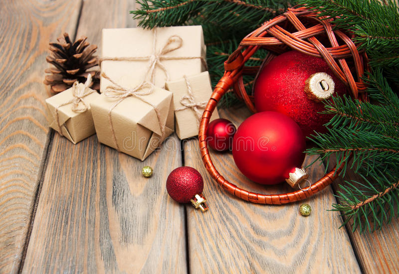 Basket with christmas baubles stock image