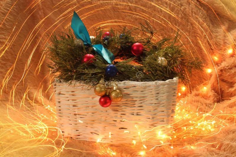 Basket with Christmas decorations 2018 royalty free stock image
