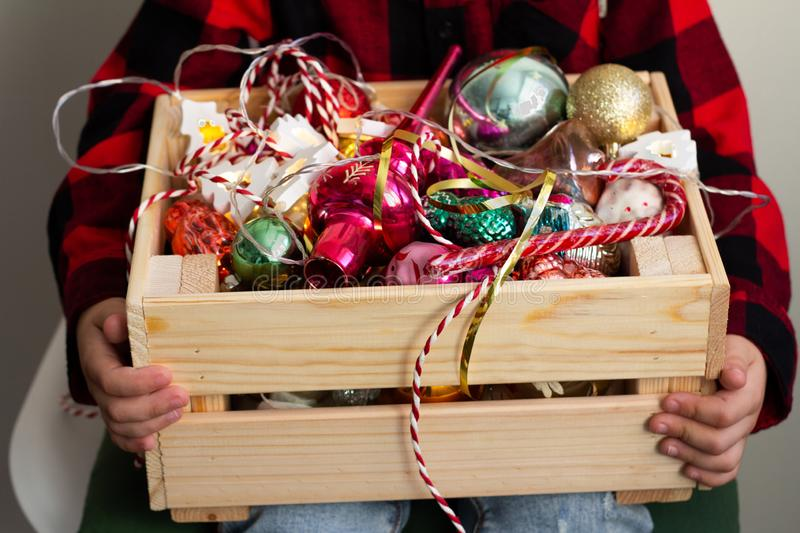 basket of the christmas toy royalty free stock photography