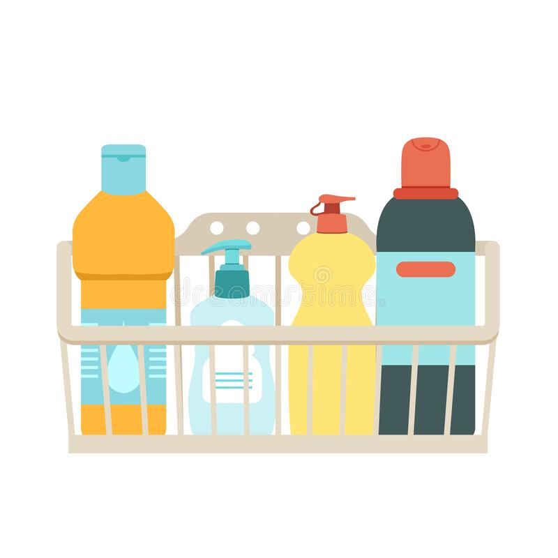 Basket for cleaning with detergents and disinfectants. Vector easily editable illustration on a white background. Vector illustration stock illustration