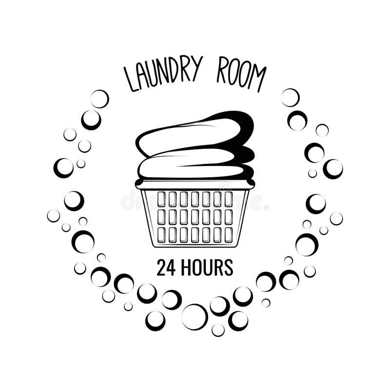 Basket With Clothes. Laundry Room Vintage Label Badge. Vector Illustration stock illustration