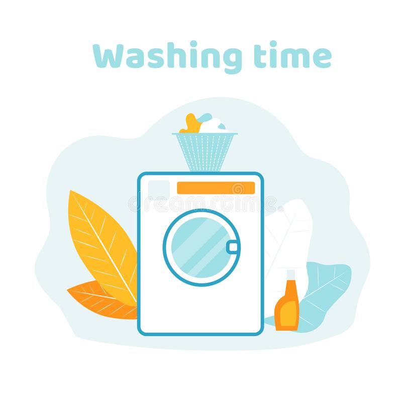 Basket with Clothes Stand on Wash Machine in Bath. Washing Time Banner. Basket with Clean Clothes Stand on Wash Machine in Bathroom Isolated on White Background vector illustration
