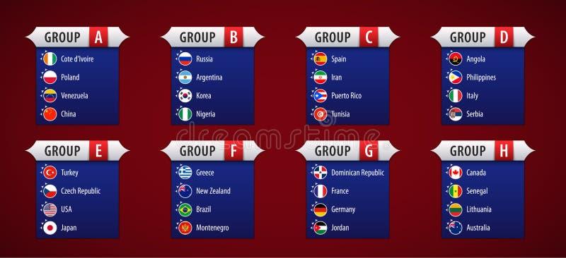Basket 2019, deltagareflaggor som sorteras av grupper royaltyfri illustrationer