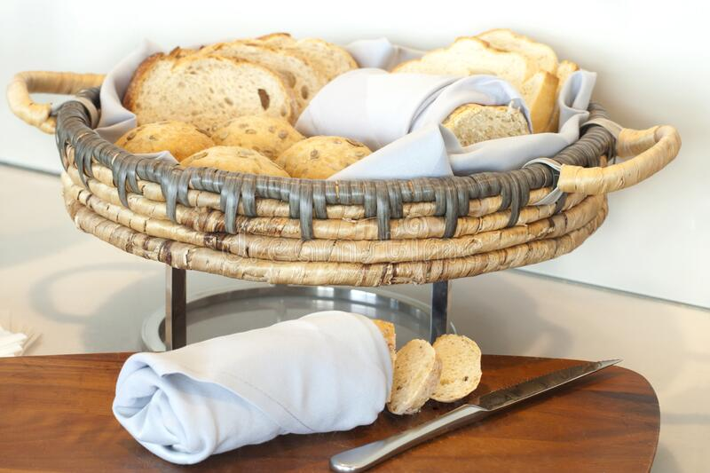 Basket of different breads stock photography