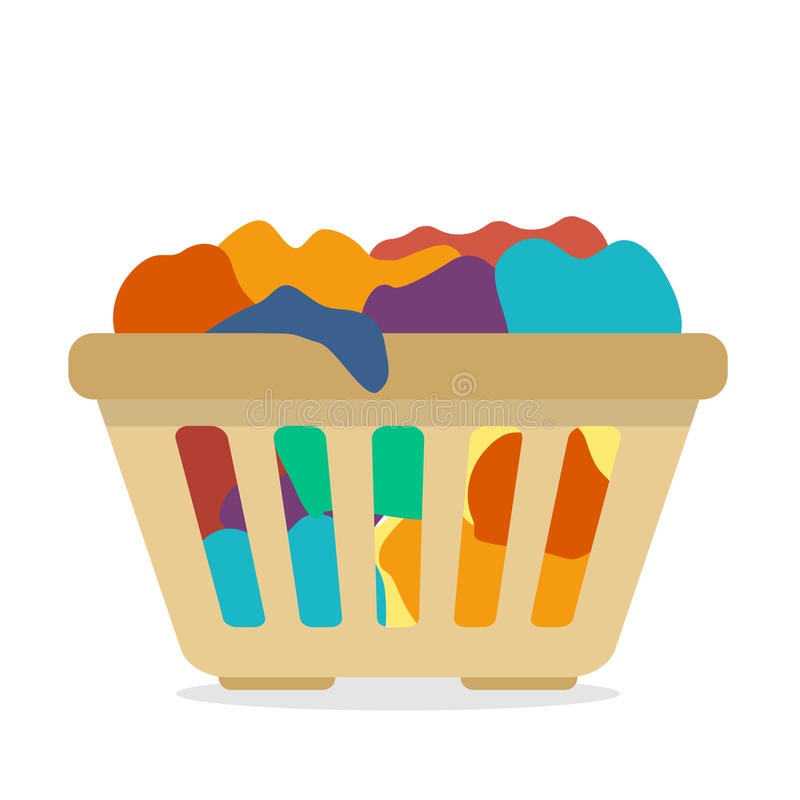 Basket with dirty clothes. Flat style vector illustration royalty free illustration