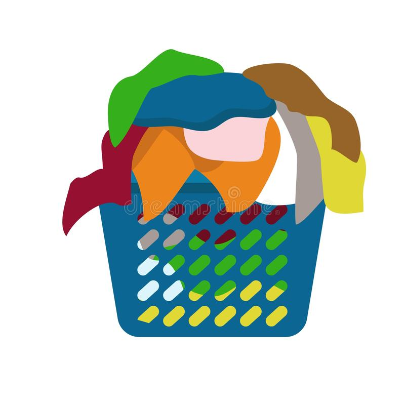 Basket of dirty clothes icon, flat style. Basket of dirty clothes icon. Flat illustration of basket of dirty clothes vector icon for web design stock illustration