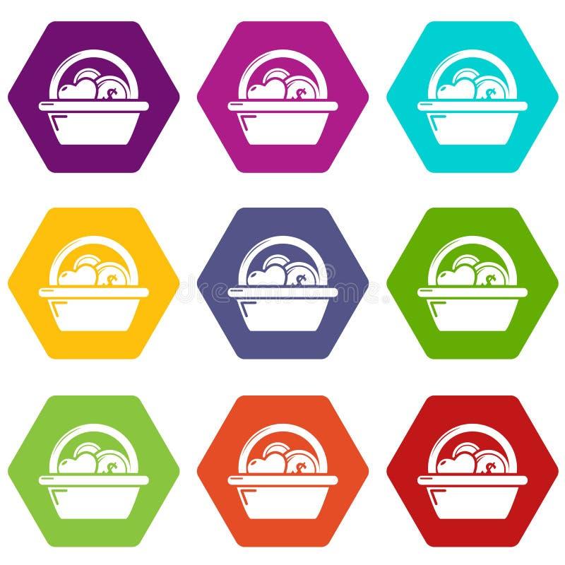 Basket donate icons set 9 vector stock illustration