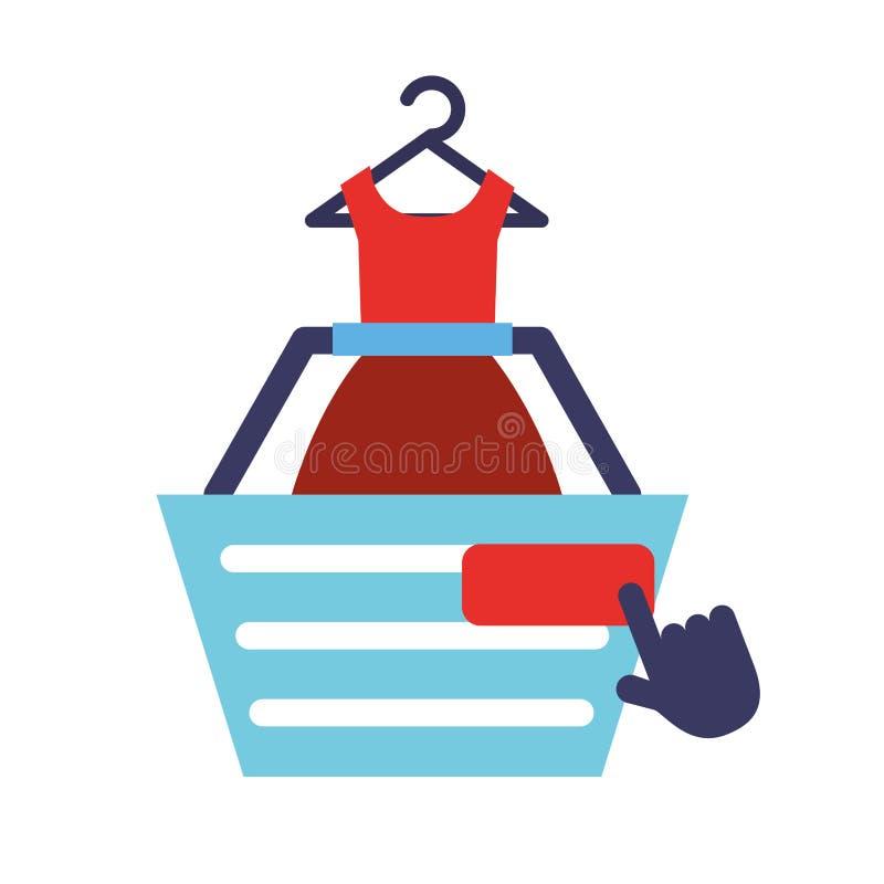 Basket dress clothes click online shopping. Vector illustration royalty free illustration