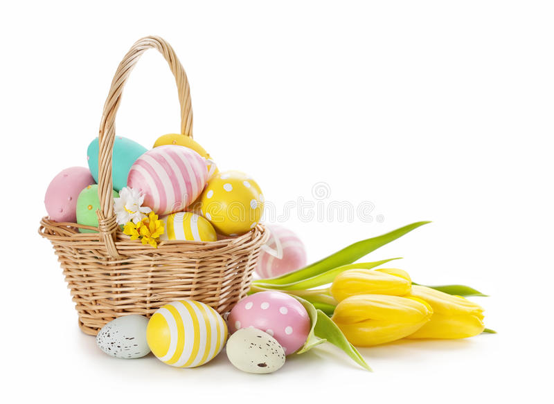 Download Basket with easter eggs stock photo. Image of yellow - 28760702