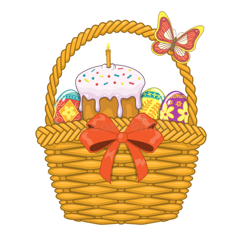 Basket with Easter eggs and cake vector illustration