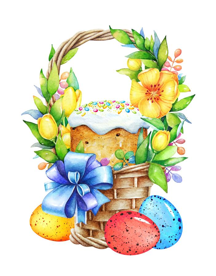 Basket with easter eggs, cake and flowers stock illustration
