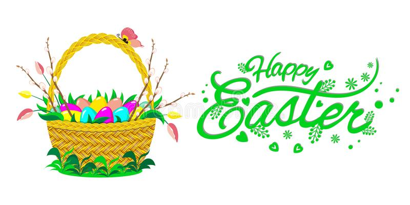 Basket with Easter eggs, flowers and willow brunches. Lettering Happy Easter. Vector illustration. stock images