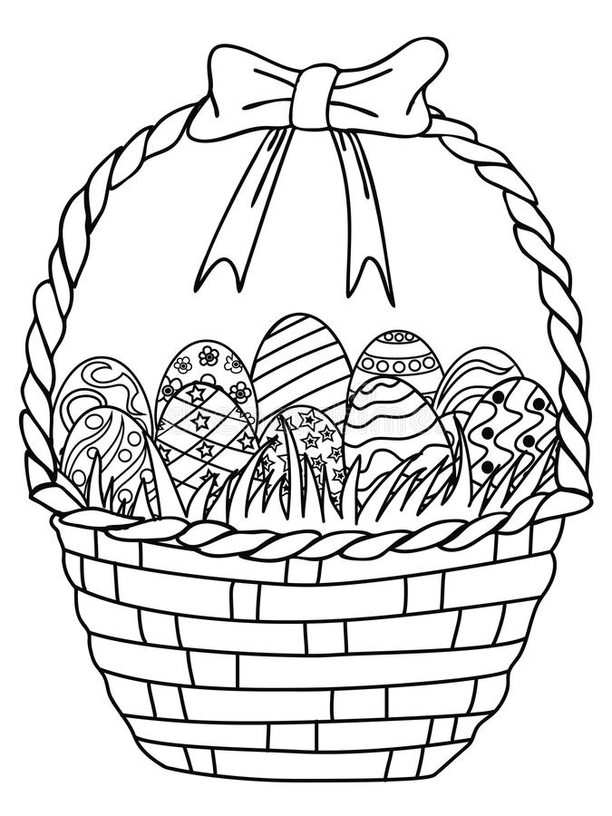 Basket Of Easter Eggs Outline,coloring Page Stock Vector ...