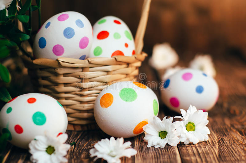 Basket with Easter eggs painted in a circle, spring branch with green leaves, stock images