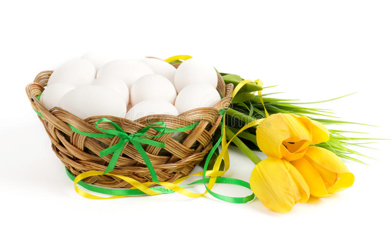 Download Basket with Easter eggs stock image. Image of blossoming - 39505845