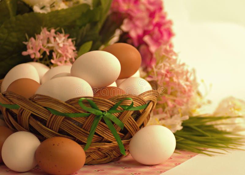 Download Basket with Easter eggs stock image. Image of decoration - 39505891