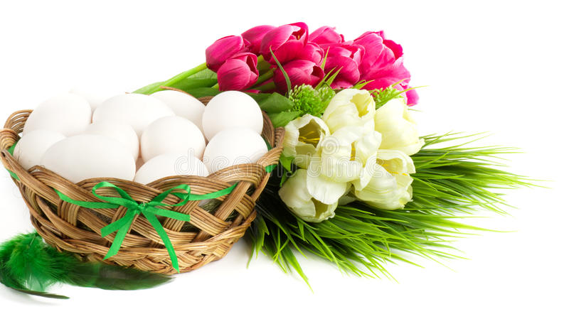 Download Basket with Easter eggs stock image. Image of flora, eastereggs - 39505901