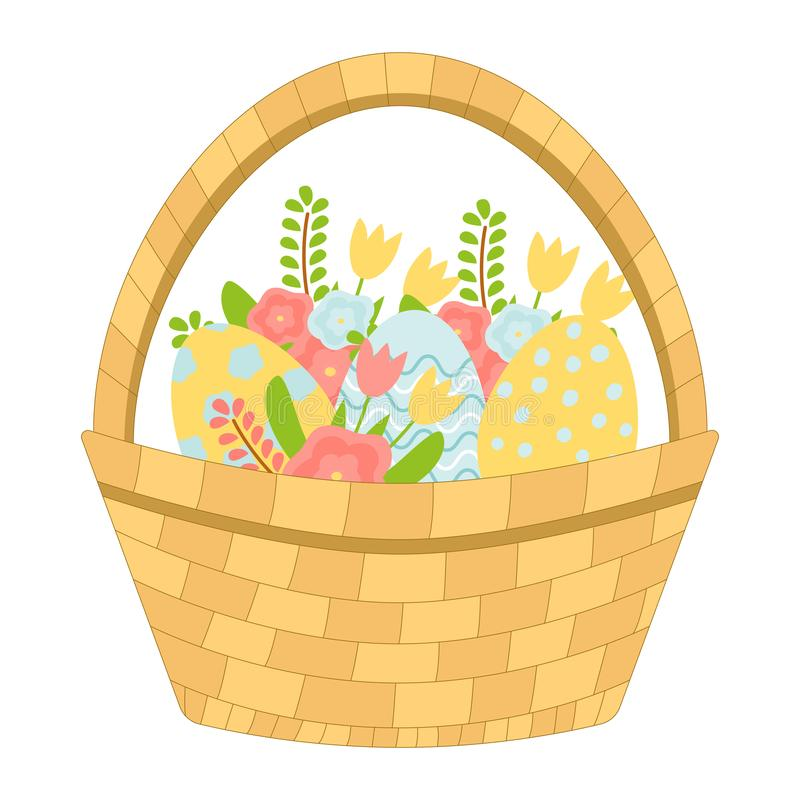 Basket with Easter eggs and spring flowers. Vector vector illustration